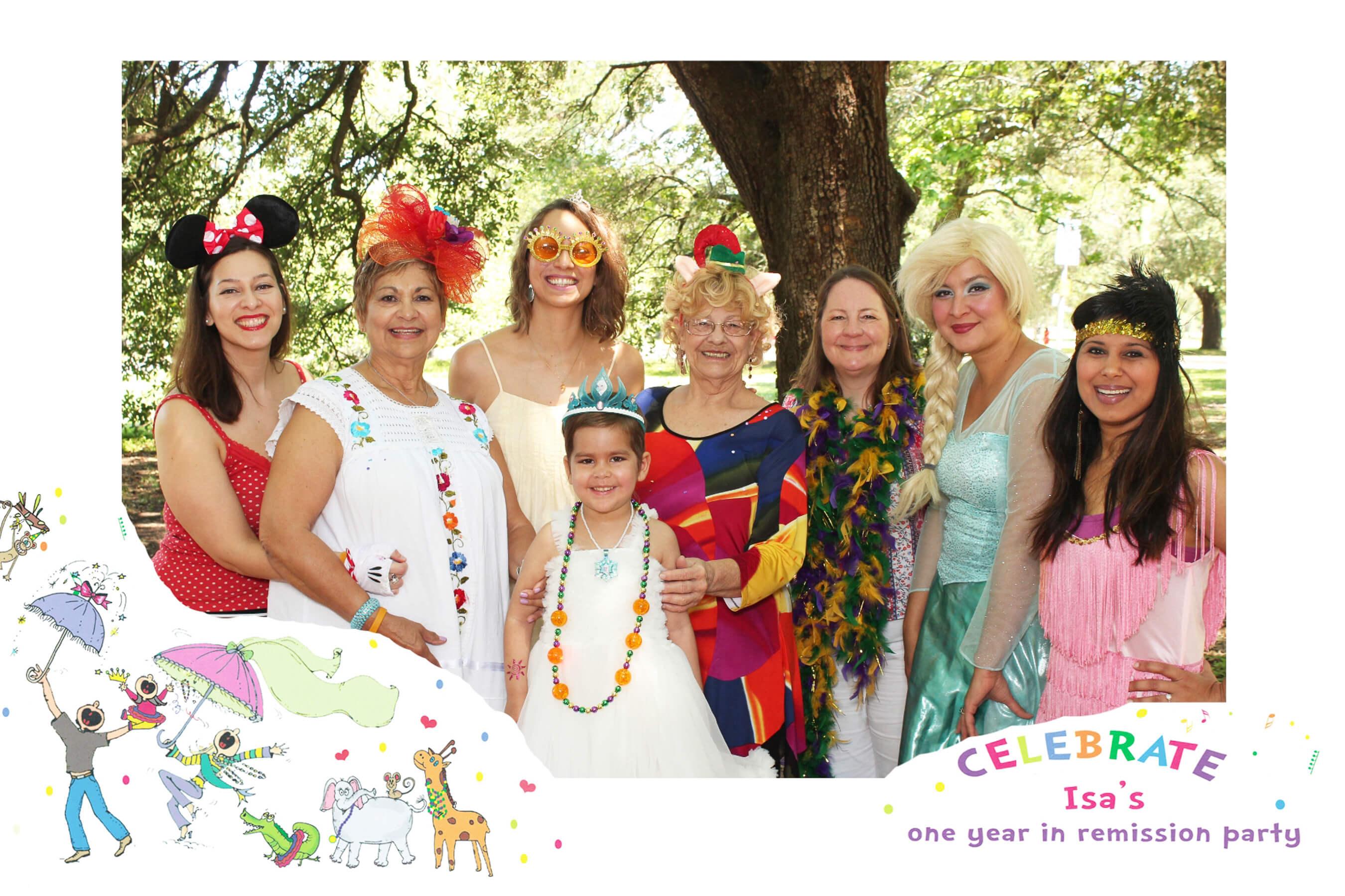 7 women celebrating a girls birthday